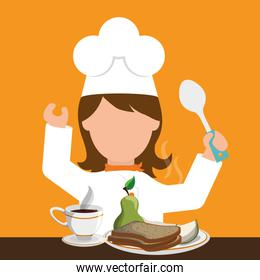 chracter girl chef breakfast healthy food spoon