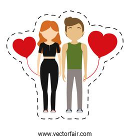 couple romance emotion red hearts balloon