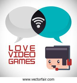 online games character headset love bubbles message