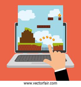hand touch game online laptop device
