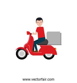 delivery boy riding scooter package