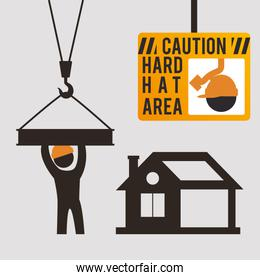 caution hard hat area sing worker