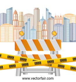 barrier road tape under construction cityscape background