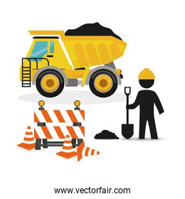 dump truck full barrier cone road and worker shovel