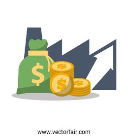 business financial growth bag money coins