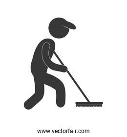 sweeper clean broom figure pictogram