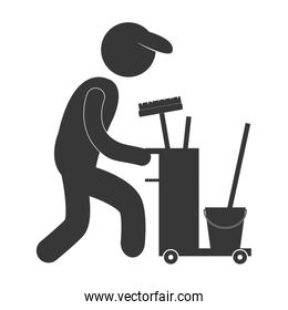 man worker cleaning equipment figure pictogram