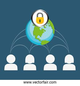 globe lock connections network image design