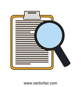 clipboard with magnifying glass icon image