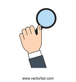 magnifying glass in the hand icon design