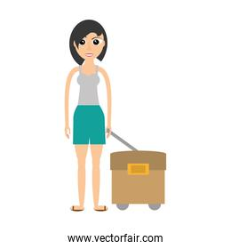 woman with travel bag icon