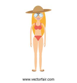 smiling woman swimming suit and sunglasses icon
