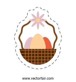 eggs easter inside basket icon