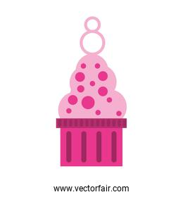 pink ice cream with bubbles icon
