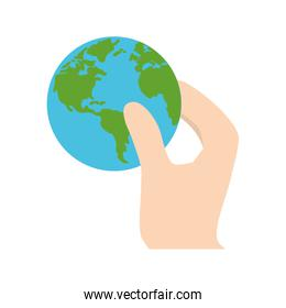 hand holding world earth ecology
