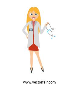 blonde doctor woman holding stethoscope