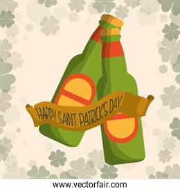 happy st patricks day two bottle beer clover background