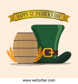 happy st patricks day hat wooden barrel and wheat