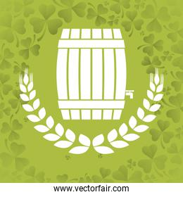 wooden barrel beer wheat clover background