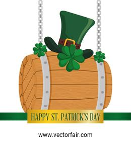 happy st patricks day wooden barrel hat and clover hanging