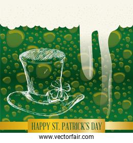 happy st patricks day bubbles green beer hat