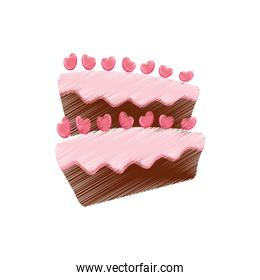 drawing cake pastry heart sweet