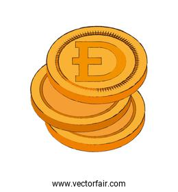 dogecoin cryptocurrency stack icon