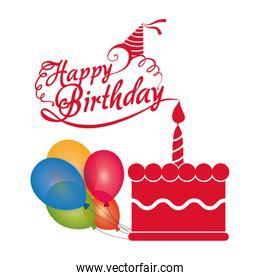 happy birthday cake candle balloons colored