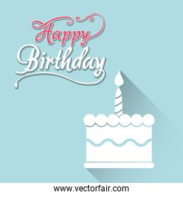 happy birthday card with white cake first candle