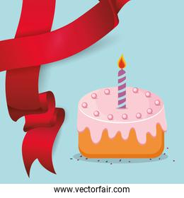 sweet cake candle red ribbon