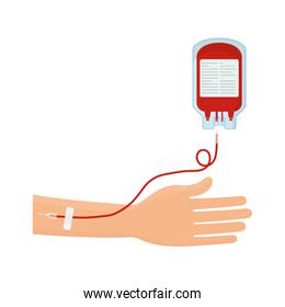 blood donation hand with bag tube