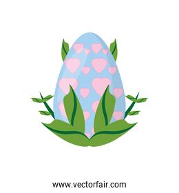 easter egg heart decoration and green leaves