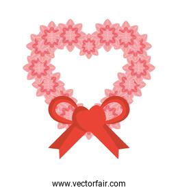 pink heart flowers bow ornament