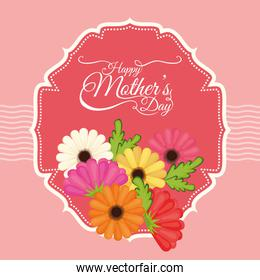 happy mothers day flowers decoration label over pink