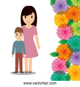 cute mom and son flower border decoration