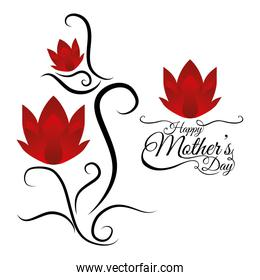 happy mothers day card lettering flowers