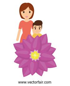 mother and son love flower