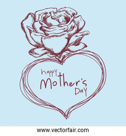 happy mothers day flower cute sketch
