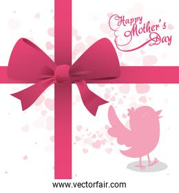 happy mothers day bird ribbon bow decoration