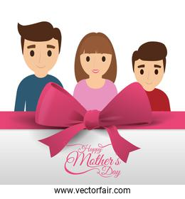 happy mothers day card family pink bow