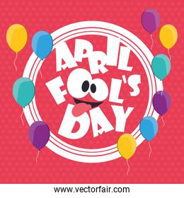 april fools day card balloons background