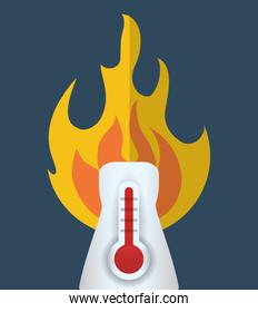 hot thermometer fire weather concept