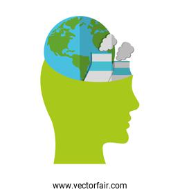 head think green globe nuclear power plant