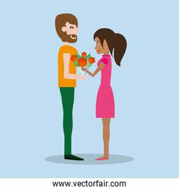 cute couple with bouquet flowers