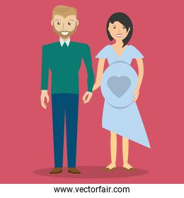 cute couple hand holding and pregnancy