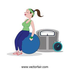 fitness woman fitball weight scale and stopwatch