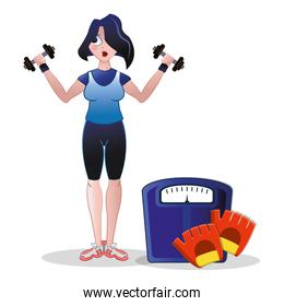 fitness woman weight scale barbell and gloves