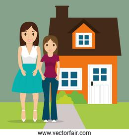 mom with teenage daughter new house