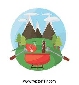 grill bbq meal mountains landscape