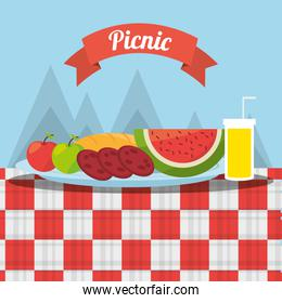 picnic fruits fod juice tablecloth mountains background